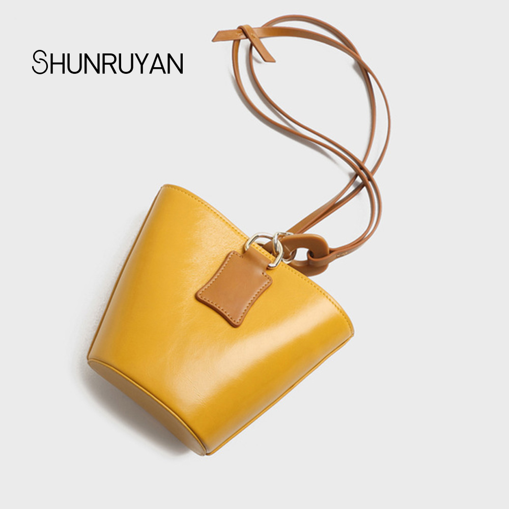SHUNRUYAN 2018 New Brand Design Genuine Leather Women Bag Casual Bucket Shoulder bags Cross body Bags Ladies bag
