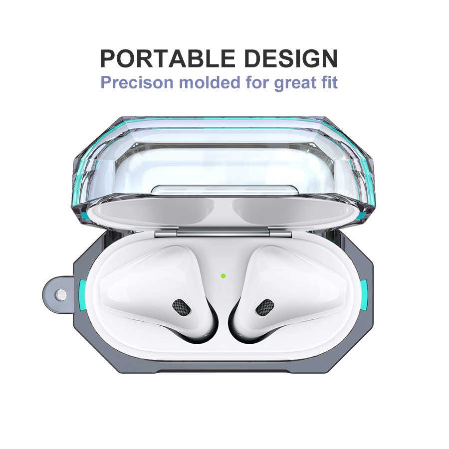IQD para Apple AirPods funda de carga 2nd Gen 1st Clear Hard TPU parachoques cubierta protectora piel transparente a prueba de golpes plástico suave