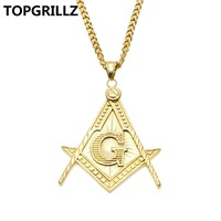 TOPGRILLZ Hip Hop Rock Masonic Badge Stainless Steel Mini Gold Color Plated Pendant Necklace Men Women