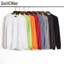 QoolXCWear Solid Color Long Sleeve Tshirts Cotton T Shirts Men/women  Hip Hop Streetwear Tops