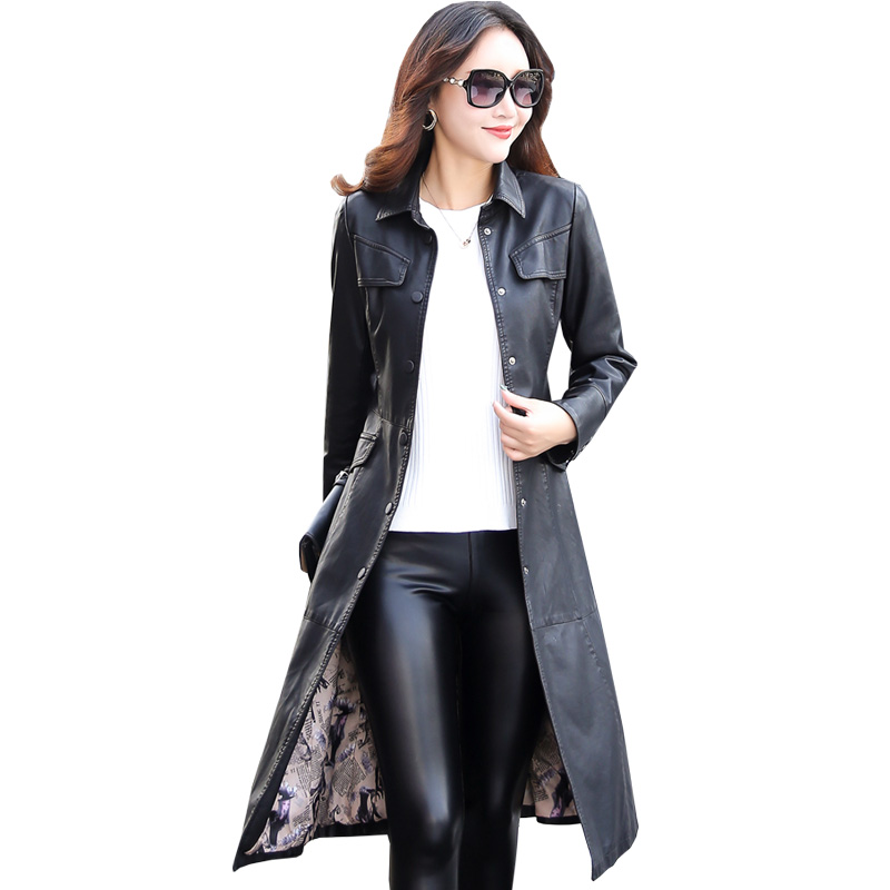 Women Long   Leather   Jacket 2018 New Fashion Ladies Elegant Washed PU   Leather   Coats Trench Female Outerwear With Belted Plus Size