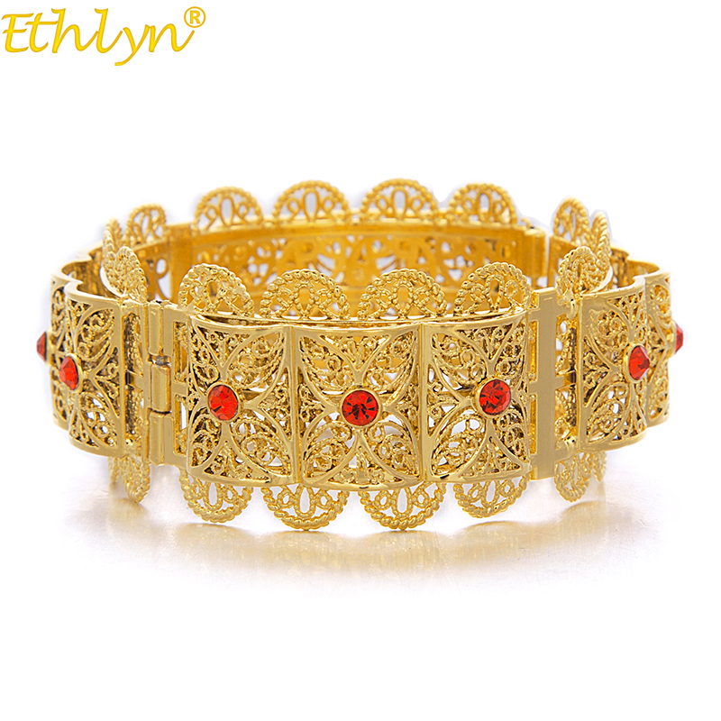 Ethlyn Jewelry Big Bangle for Women Gold Color Dubai Jewelry Ethiopian Bracelet Red/Blue/Green/White Arab Middle East Style B069
