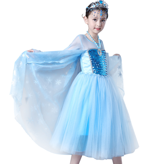 2018 Elsa Queen Girls dress Children Kids Christmas Cosplay blue Costume  Toddler Princess Dress Party vestidos Full sleeves ea5a2b475b2c
