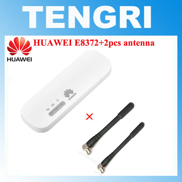 Unlocked Huawei E8372 E8372h-153 E8372h-608 with 2pcs Antenna 150M LTE USB Wingle LTE 4G USB WiFi Modem dongle car wifi(China)