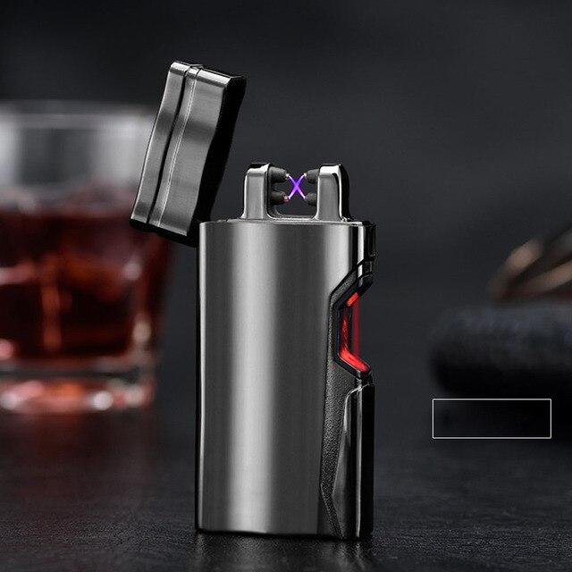 6838e16d841 Duplo Arco Pulsado laser Infravermelho de indução Mais Leve Cigarro USB  Plasma Isqueiros Eletrônico charuto À