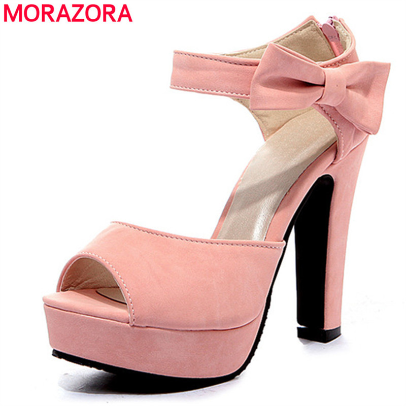 MORAZORA Plus size 34-43 new fashion wpmen sandals platform summer shoes woman 12cm high heels ladies party wedding shoes plus size 34 43 new platform flat shoes woman spring summer sweet casual women flats bowtie ladies party wedding shoes