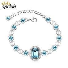 a004b60025b7 De lujo de enlace de cadena de plata pulseras para las señoras de las  mujeres cristales de Swarovski joyas encantos cuadrados mu.