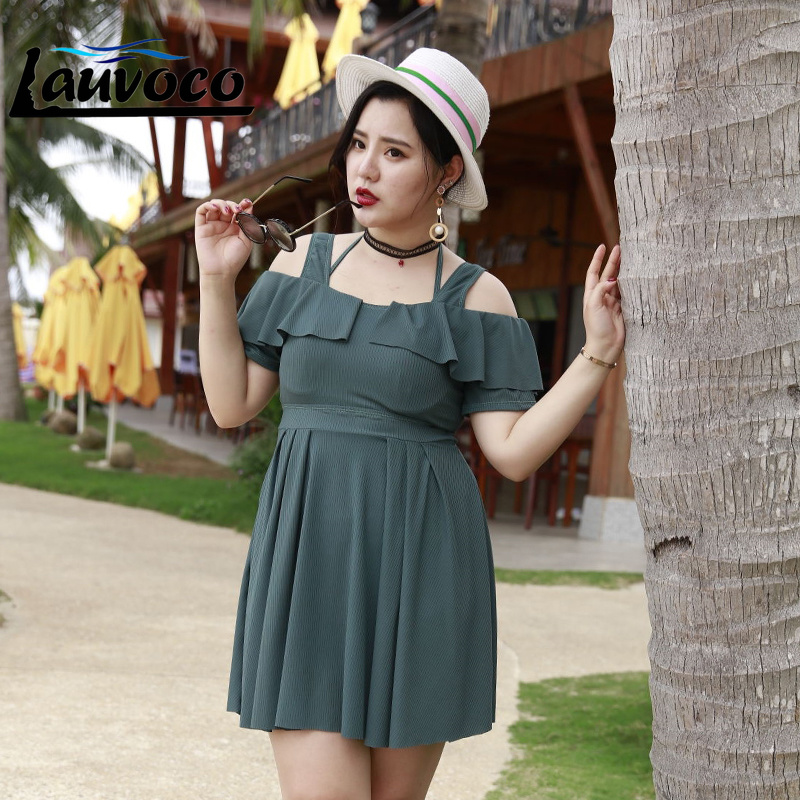 3f50725408 Sexy Plus Size Swimwear Women One Piece Swimsuit Dress Flouncng Bathing  Suit Skirt Padded Beachwear Big