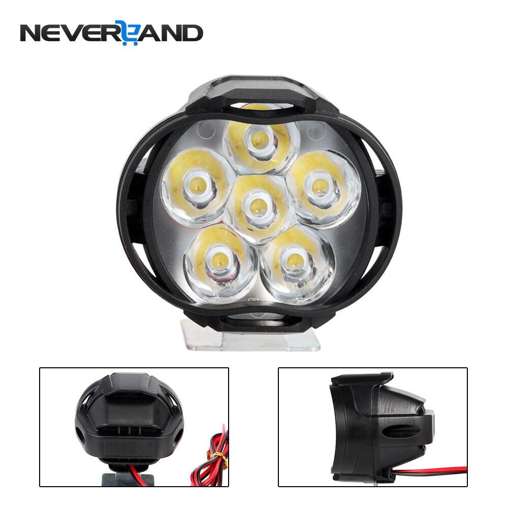 NEVERLAND Motorcycle Led Headlight Lamp 30W 3000Lm Scooters Fog Spotlight 6500K White Motorbike Working Spot Light 9-85V