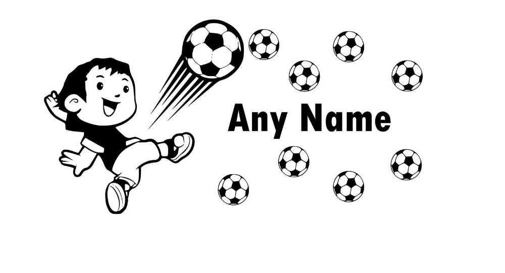 Soccer football any name vinyl wall sticker personalized name art soccer football any name vinyl wall sticker personalized name art decal wall stickers for kids room baby decals mural j619 in wall stickers from home voltagebd Gallery