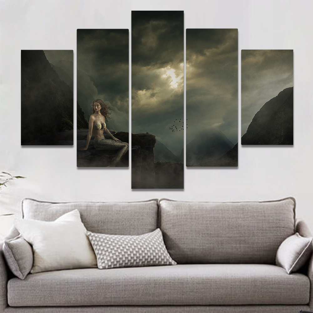 Unframed Canvas Painting Gothic Dark Clouds Mermaid Cliff Art Picture Prints Wall Picture For Living Room Wall Art Decoration
