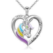Life Is ожерелье с надписью beautiful с подвеской в виде сердца единорога для женщин, подарок для девочки-подростка, серебряная цепочка, ювелирное изделие