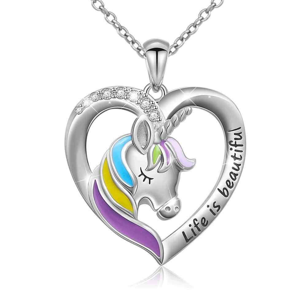 Life Is Beautiful Letter Unicorn Heart Pendant Necklace for Women Teen Girl Gift Silver Chain Jewelry
