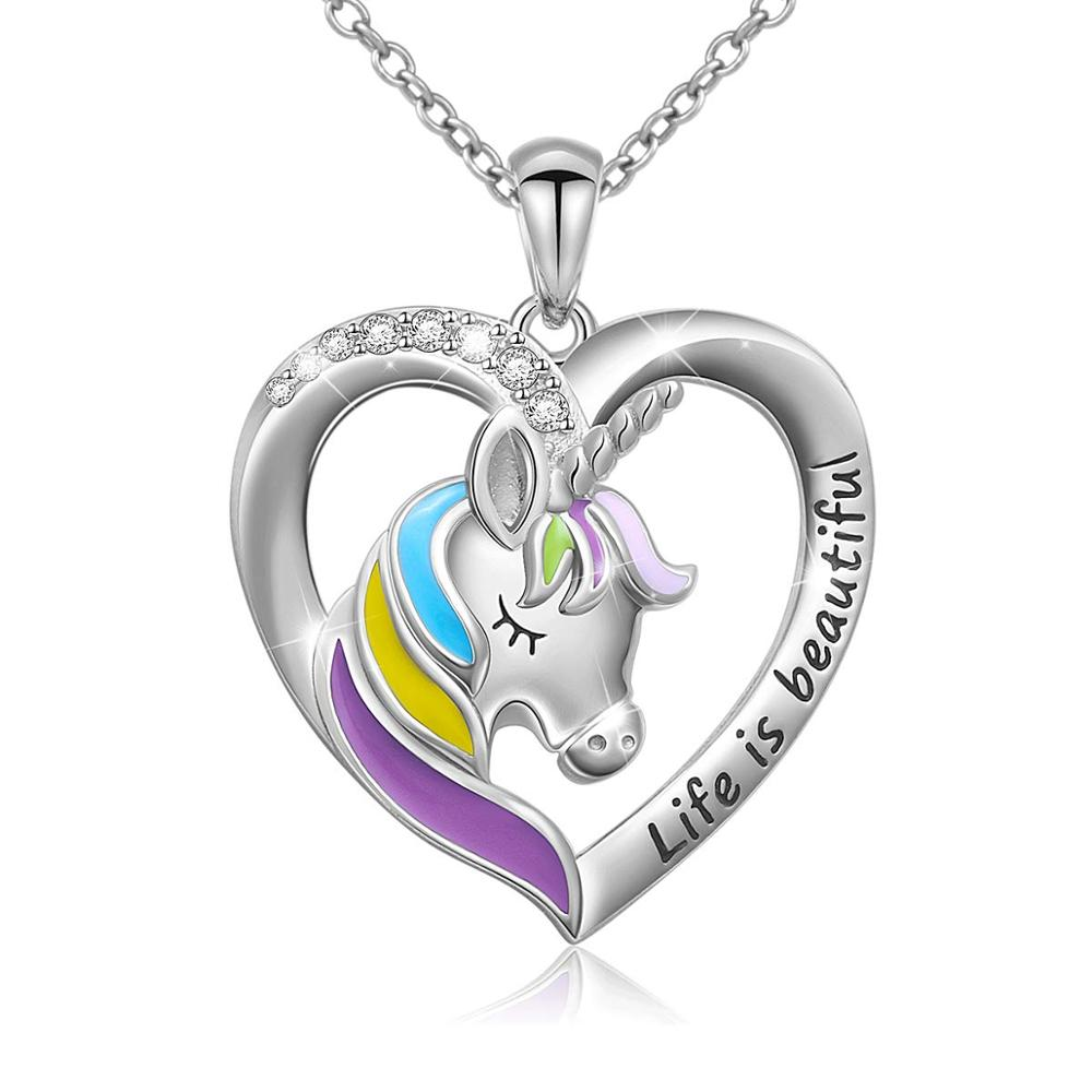 Life Is Beautiful Letter Unicorn Heart Pendant Necklace for Women Teen Girl Gift Silver Chain Jewelry image