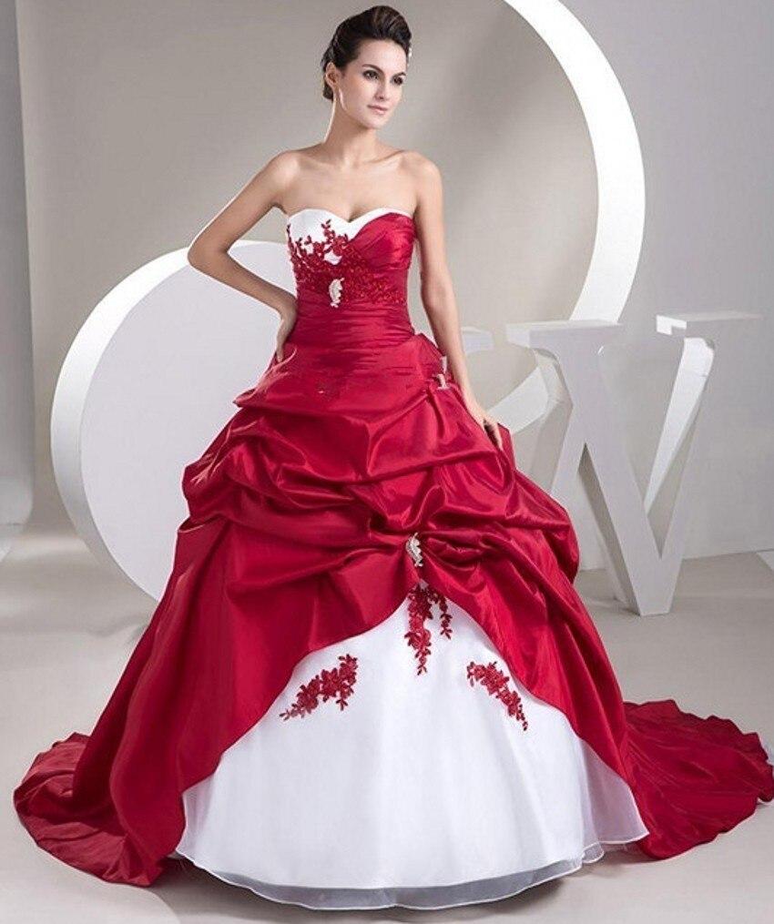 Hochzeit Kleid 2017 Ball Billige Rote und Weiße Satin vestidos novia ...