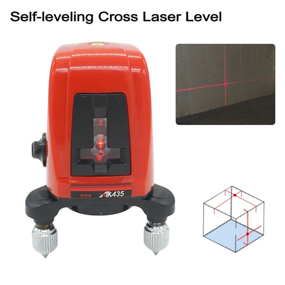 Hot AK435 360 Degree Rotating Red Beam Self Leveling Cross Laser Line + Lightspot Laser Leveler bbloop confirm outline self inking stamp rectangular laser engraved red