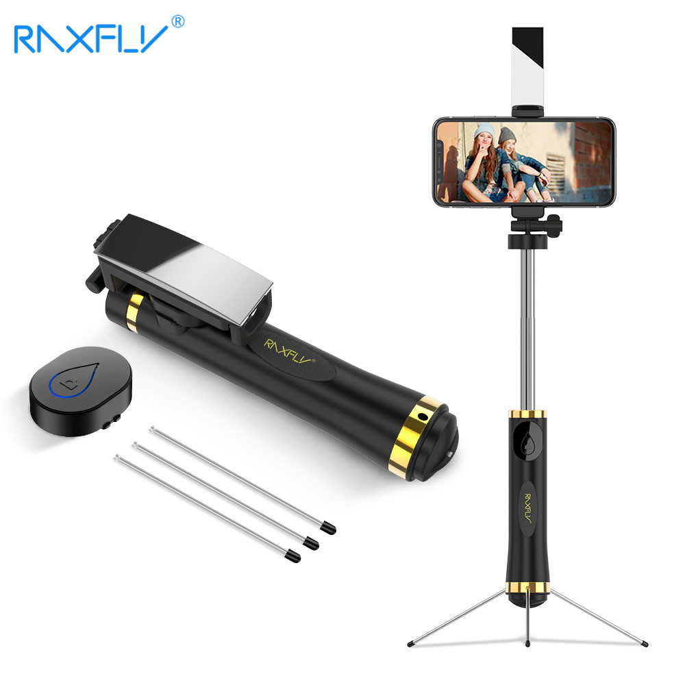 RAXFLY Wireless Bluetooth Selfie Stick For iPhone X 8 7 Handheld Foldable Tripod Mirror Remote For Xiaomi Selfie Stick