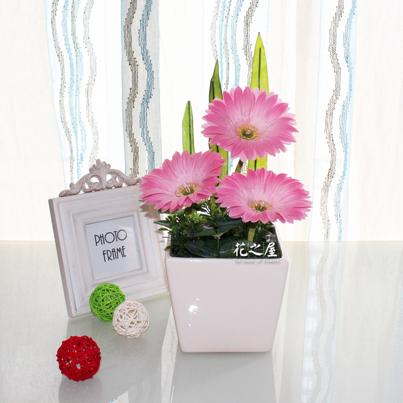 Led Flower Pot Gerbera Fake Flowers Artificial Home Decor