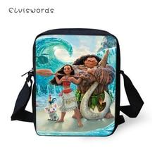 ELVISWORDS Fashion Women Messenger Bags Moana Prints Pattern Shoulder Kawaii Design Girls Flaps Handbags Kids Mini Mochila