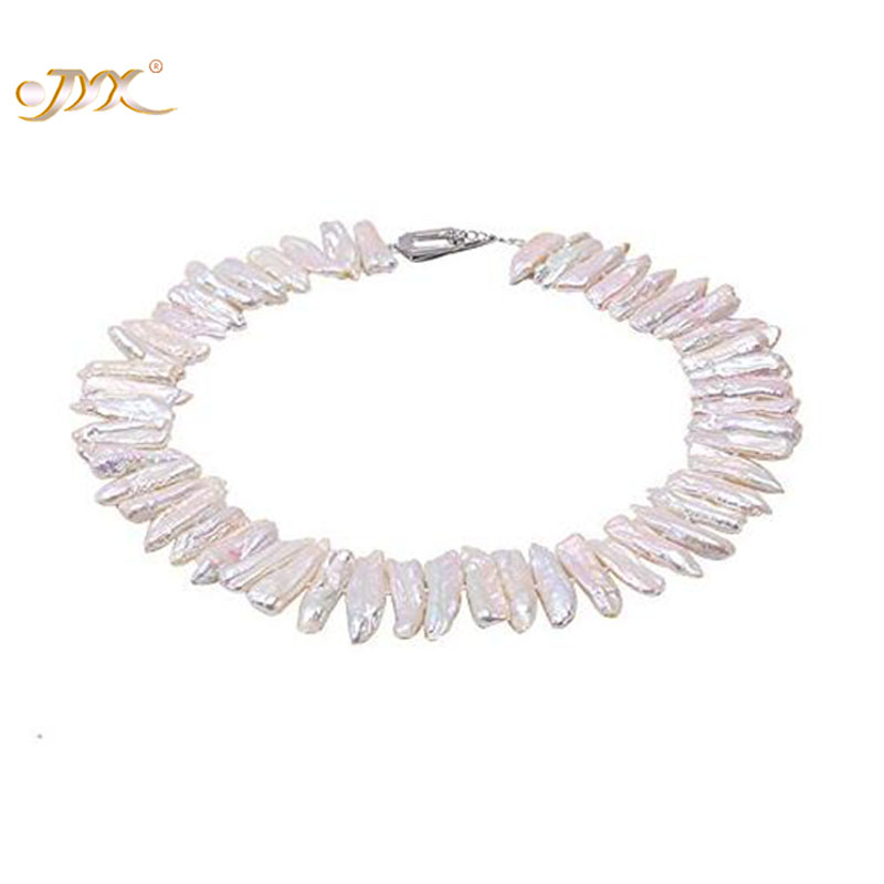 купить JYX Classic White&Lavender Baroque Freshwater Cultured Biwa Pearl Necklace Party Jewelry Gift AAA 19 недорого