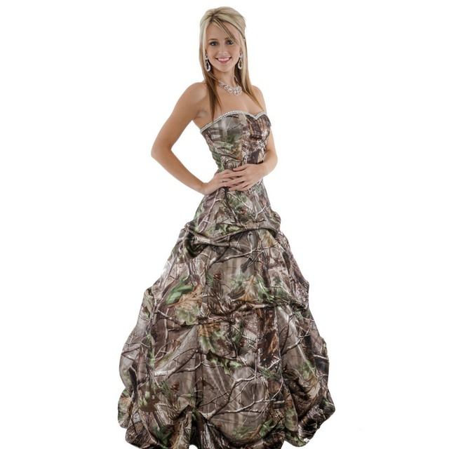 c5c12d6a47de5 strapless sweetheart long camo prom dresses 2019 realtree camouflage ball  gowns