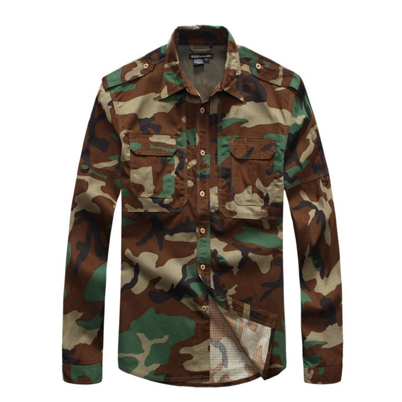 Casual Shirts Lovely Out Door Tactics Scratch Resistant Camouflage Buttoned Jacket Tops Mens Casual Shirt Military Clothing Tactical Shirt Shirts