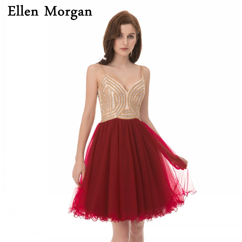 Burgundy Short Cocktail Dresses Sexy Mini Tulle Corset Lace Back to School Graduation For Girls 2019 Homecoming Party Gown