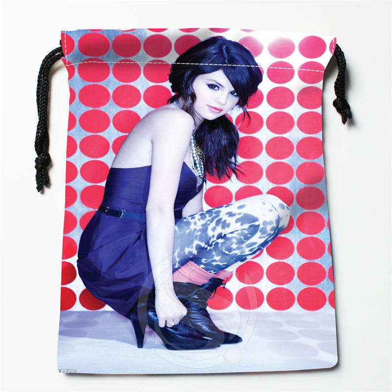 T&w122 New Selena Gomez &k Custom Printed  Receive Bag Compression Type Drawstring Bags Size 18X22cm F725&T122er