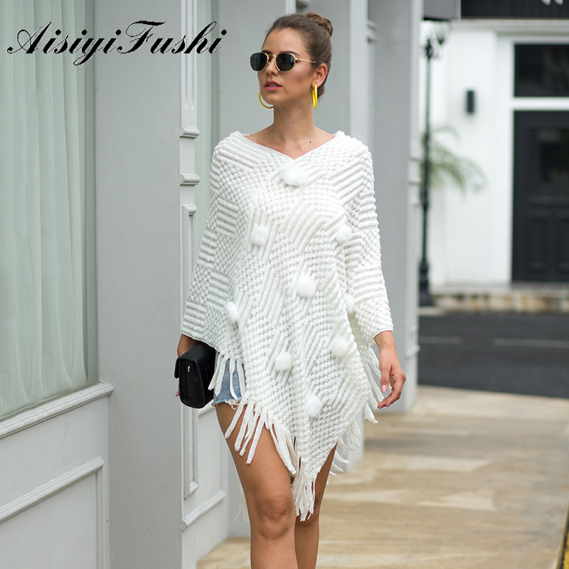 AISIYIFUSHI White Pullover Shawls Sweater Autumn Knitted Winter Cape Ladies Outwear Women