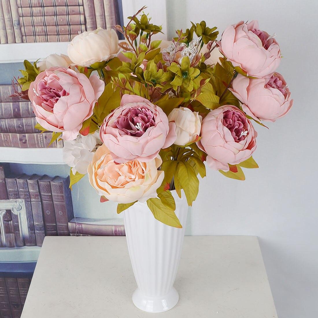 Artificial Hydrangea Flor 5 Big Heads Bouquet Dimetro 7 Cada