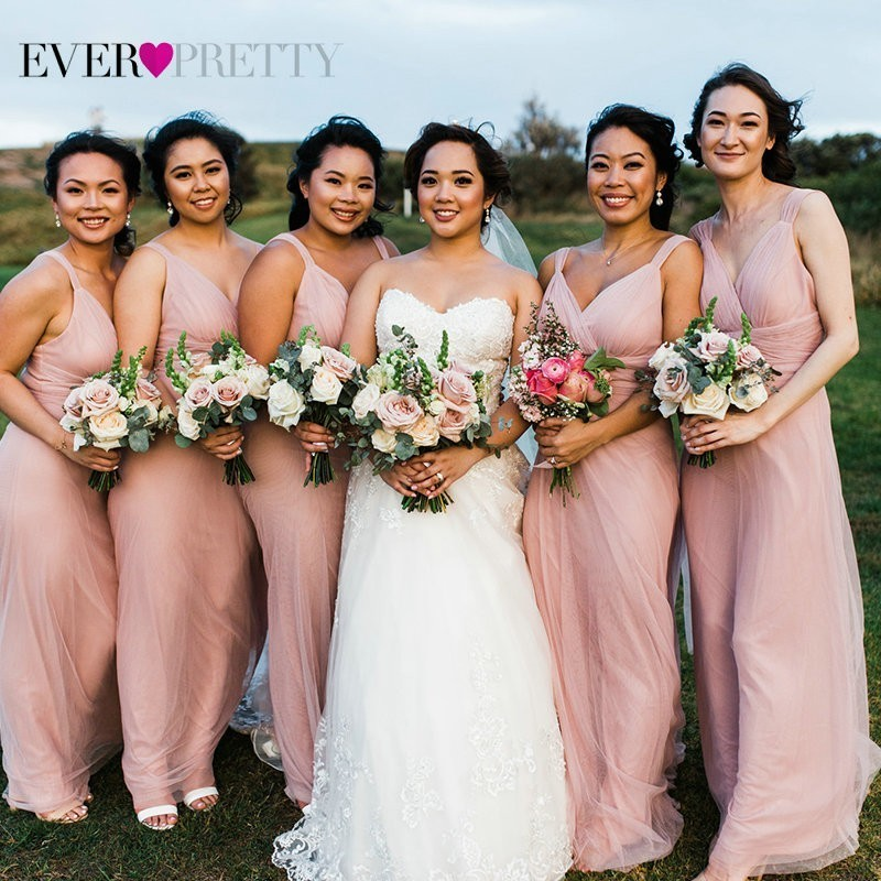 Burgundy   Bridesmaid     Dresses   Wedding Ever Pretty New Summer 7 Styles Sparkle Blush Pink Wedding Guest Gowns 2019 Vestido Madrinha