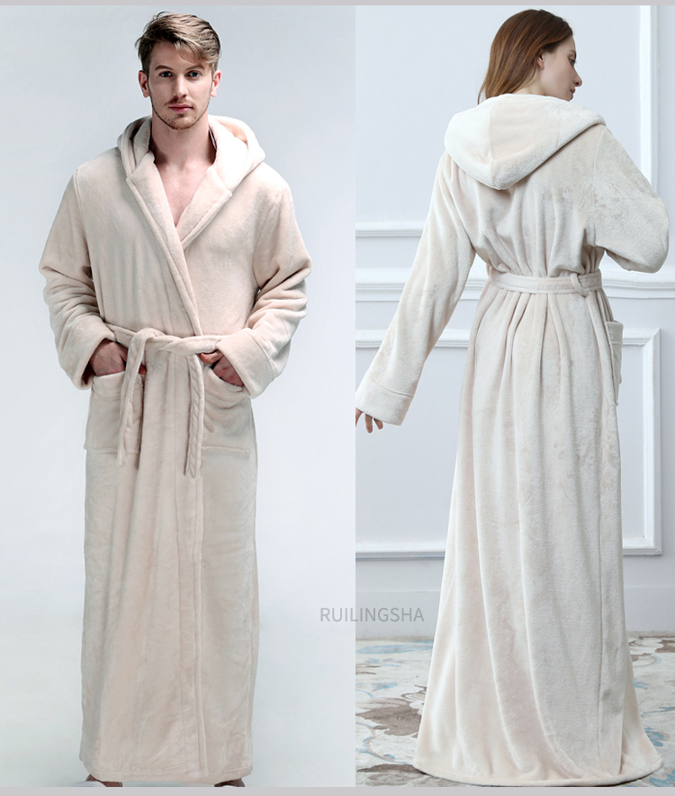 Men Women Winter Hooded Extra Long Thick Flannel Warm Bath Robe Plus Size Luxury Soft Thermal Bathrobe Dressing Gown Male Robes