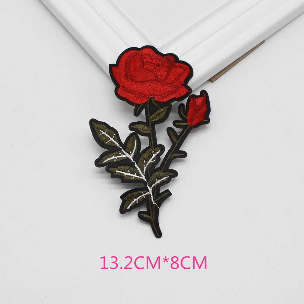 1 unidad parches de coser de hierro en rosa roja apliques de flores bordado de las mujeres diy ropa vestido de boda parche adorno d