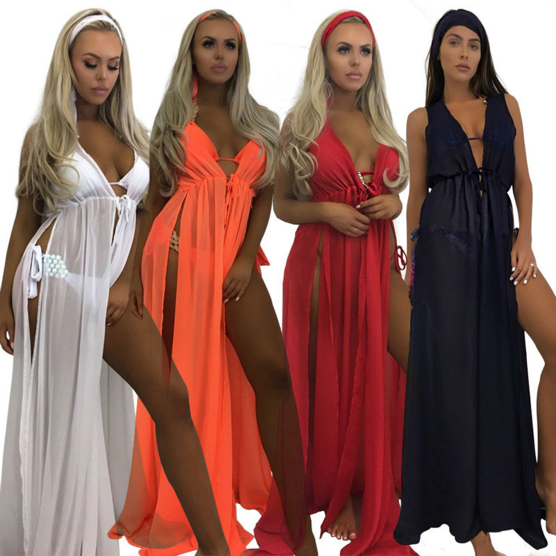 MUXU red chiffon sexy transparent dress patchwork vestidos robe femme long dress fashion loose summer roupas kleider jurken in Dresses from Women 39 s Clothing