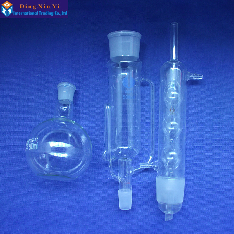 0.5L Extraction Apparatus soxhlet with bulbed condenser,500ml Glass Soxhlet extractor,condenser and extractor body,Lab Glassware ...
