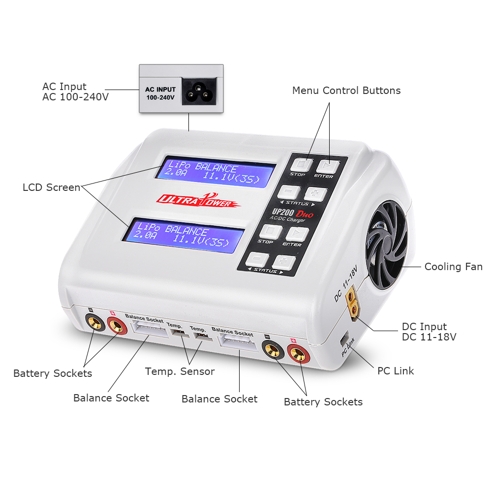 Ultra UP200 DUO 200 W 10A AC/DC batería Balance cargador Discharger para LiPo vida Lilon LiHV NiCd niMh Pb RC de la batería-in Partes y accesorios from Juguetes y pasatiempos    3