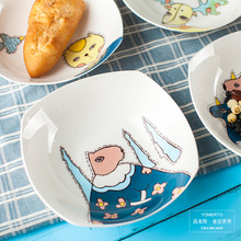 Boiled dumplings Fresh Fruit Salad creative dishes  7 square inch cartoon cold noodle dinner  plate