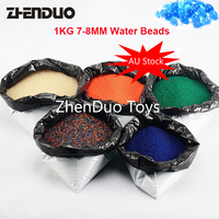 ZhenDuo Toys 1KG/Lot 7 8mm Color Gel Ball Water Bead Crystal Soft Bullet 5 Colors For Toy Gun & Home Decor Free Shipping