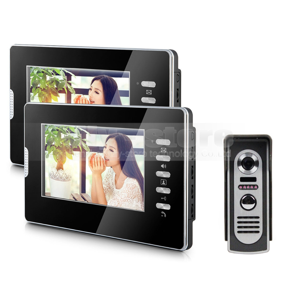 DIYSECUR 600TVL 7 LCD Video Doorbell Door Phone Intercom System Home Entry Security 1V2