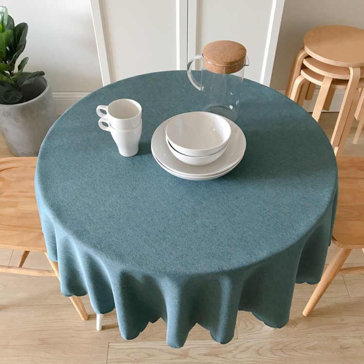 Kerst Tafelkleed Ronde Tafelkleed voor Feest Bruiloft Hotel Banket Tafel Cover Khaki Roze Blauw Groen KitchenTable Cover