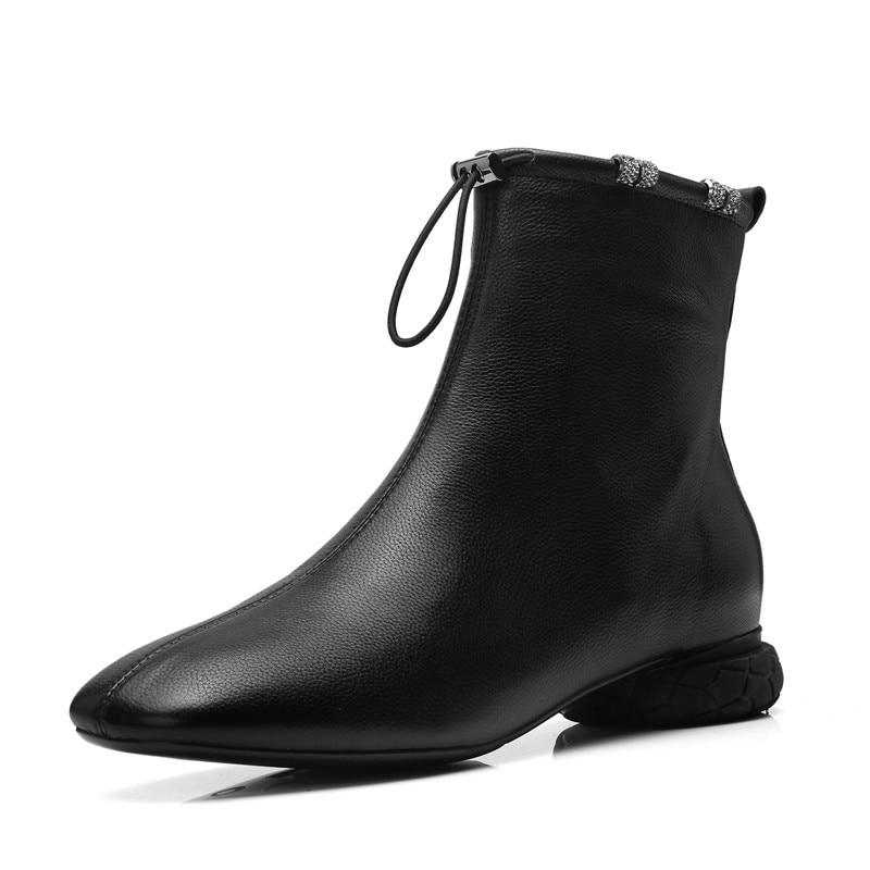En Nouvelle Véritable Style Occasionnels Talons 2018 Arrivée Étrange Rond Cheville Beige Chaussures Cuir Dames Femmes Lacent Bout Smirnova noir Bottes 7dq67