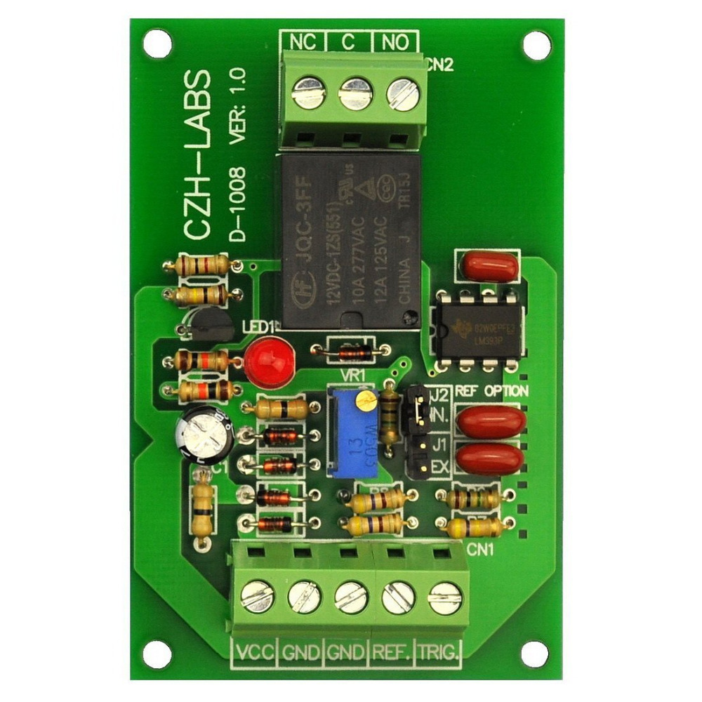 ELECTRONICS-SALON Panel Mount Voltage Comparator Relay Module, DC12V, SPDT 10A Relay.