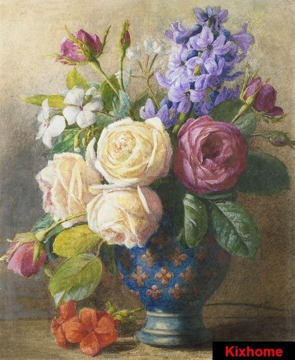 natura morta di fiori in un vaso di rame dipinto a mano dipinti ad ...