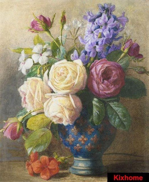 Natura morta di fiori in un vaso di rame dipinto a mano for Immagini di quadri con fiori