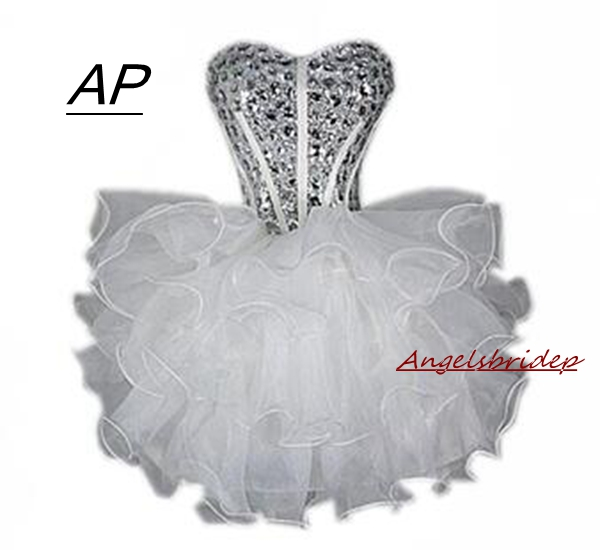 Ball-Gown Homecoming-Dresses Short Party-Dress Organza Angelsbridep Crystal Sparkling-Bling