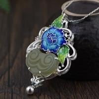 S925 silver plain style Female money burning blue Mosaic hetian jade pendant with simple but elegant Silver wholesale