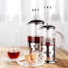 Francés prensa cafetera 350 ml 600 ml con aislamiento de acero inoxidable hervidor olla de café tetera con filtro de café doble pared plata