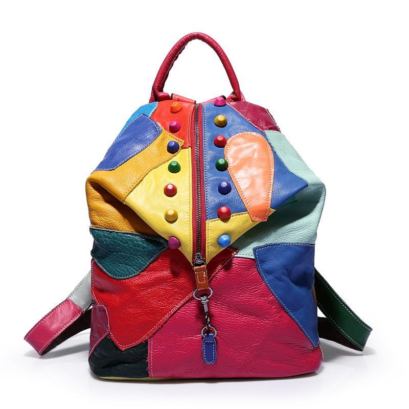 2017 sheepskin patchwork backpack bag rivet color block genuine leather bag multicolour backpack