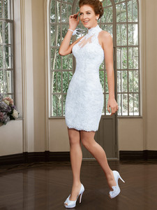 Image 2 - קו צוואר גבוה אלגנטי שמלות כלה 2016 טאטא כותנות רכבת כלה שמלות כלה חצאית להסרה