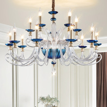 Contemporary crystal Chandeliers Blue&Clear glass suspension lamp LED creative living room dinning room bedroom Chandelier light mirror ball pendant lamp modern glass suspension light dinning room living room bar light chandelier